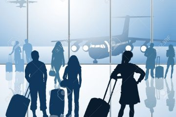 19615435-Passengers-with-luggage-in-airport-Stock-Vector-travel