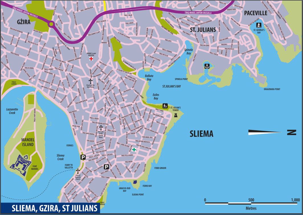 Cartina Sliema, St Julian's e Gzira