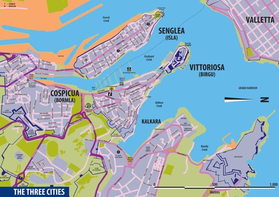 Cartina 3 città Malta